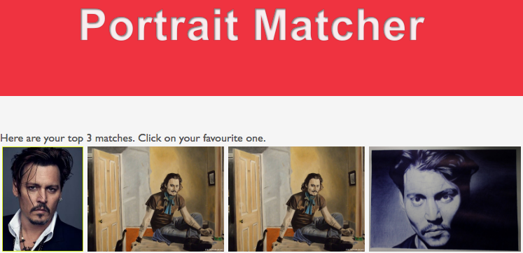 screenshot of the portrait matcher demo page